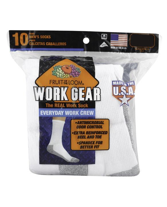 Men's Work Gear Crew Socks,  10 Pack, Size 6-12 WHITE