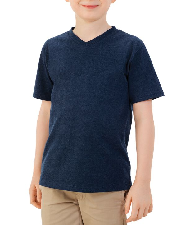 Boys' Short Sleeve V-Neck T-Shirt, 2 Pack True Blue Heather