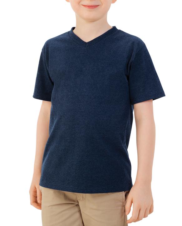 Boys' Short Sleeve V-Neck T-Shirt, 2 Pack True Blue Heather