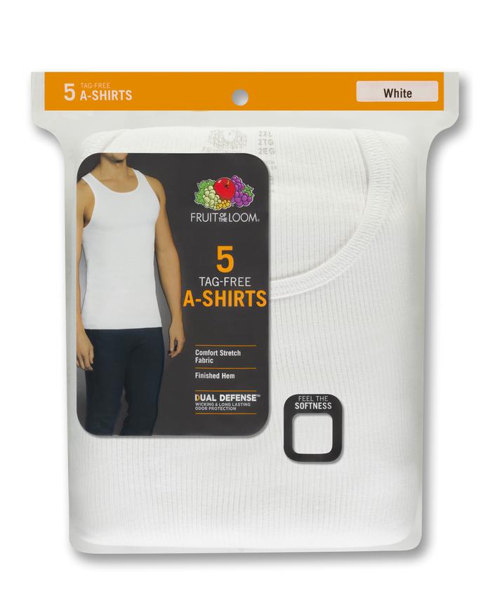 Men's White Cotton A-Shirts, 5 Pack, 2XL White