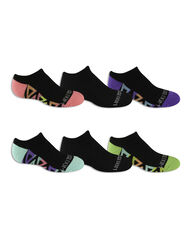Girls' Everyday Active No Show Socks 6 Pair BLACK/PINK, BLACK/BLUE, BLACK/PURPLE, BLACK/GREEN
