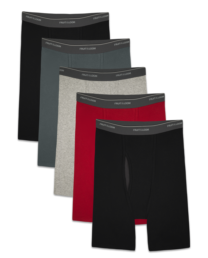 Men's CoolZone Fly Assorted Long Leg Leg Boxer Briefs, 5 Pack