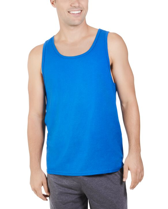 Big Men's Dual Defense UPF Sleeveless Tank Top Blue Shadow