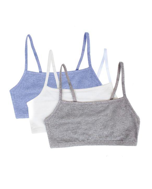 Women's Strappy Sports Bra, 3 Pack HEATHER GREY/ WHITE/ HEATHER BLUE
