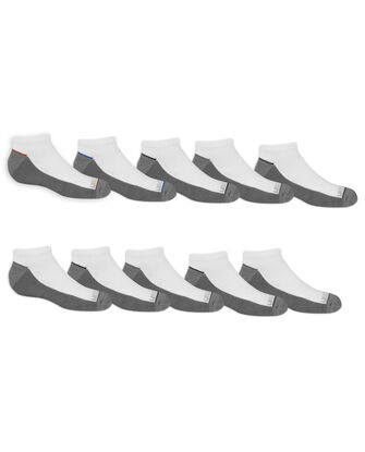 Boys' Cushioned No Show Socks Pair, 10 Pack, Size 6-12