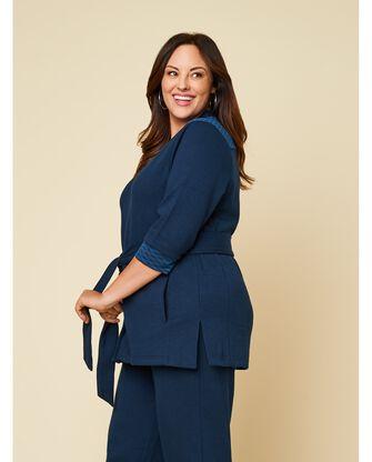 Women's Seek No Further Plus Size ¾ Sleeve Stretch Tie Jacket