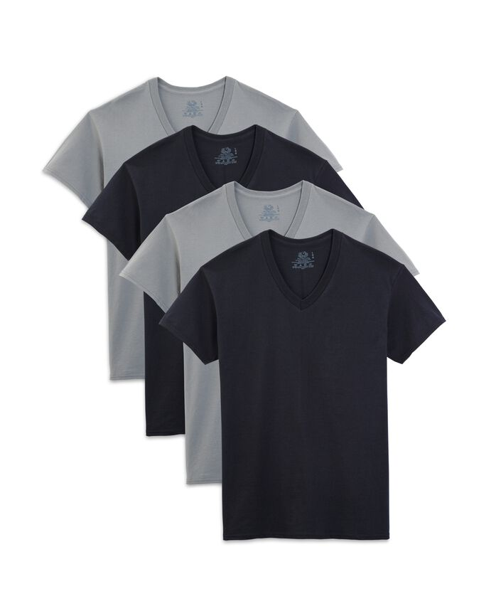 Men's Short Sleeve Black and Gray V-Neck T-Shirts, Extended Sizes, 4 Pack