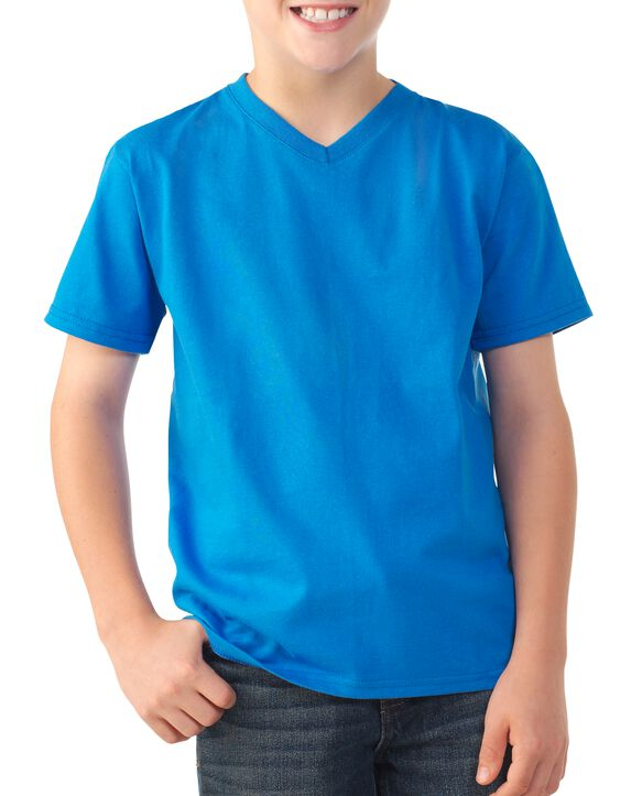 Boys' Short Sleeve V-Neck T-Shirt, 2 Pack French Blue