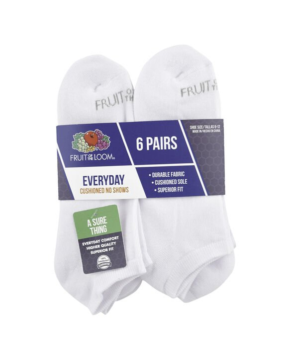 Men's Cushioned Low Cut Socks, 6 Pack, Size 6-12 WHITE