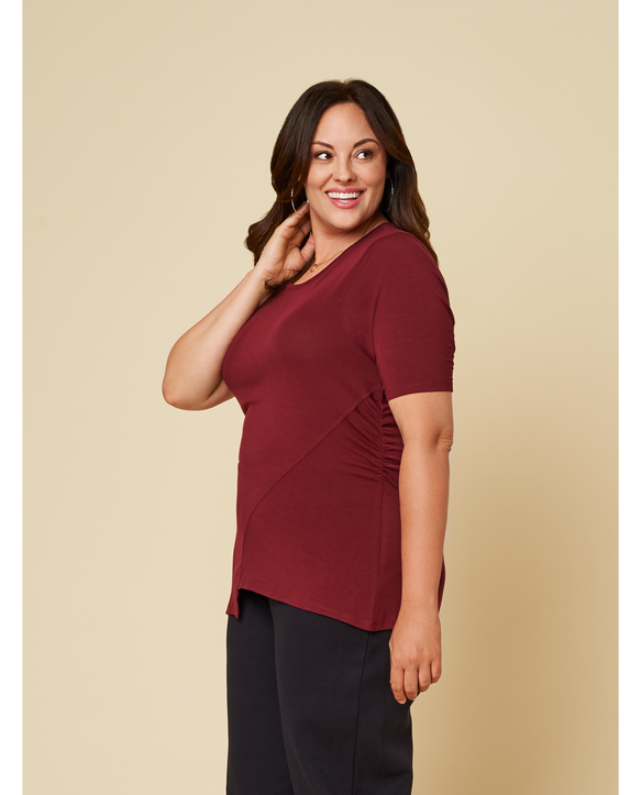 Women's Seek No Further Plus Size ¾ Sleeve Scooped Neck Ruched Top Maroon