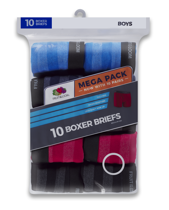 Boys' Striped Boxer Briefs, Mega Value 10 Pack
