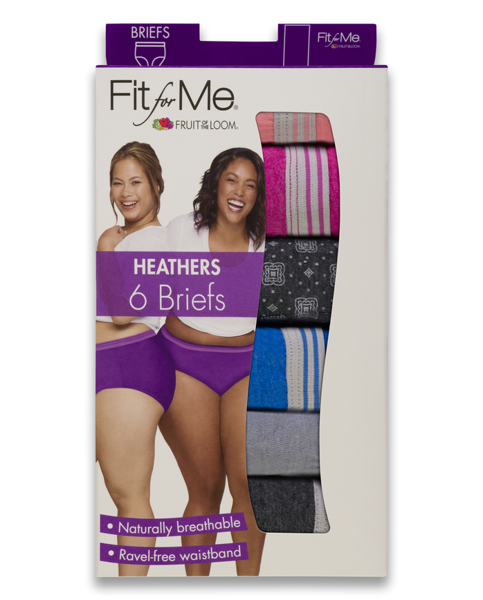 Women's  Fit for Me by Heather Briefs, 6 Pack ASSORTED