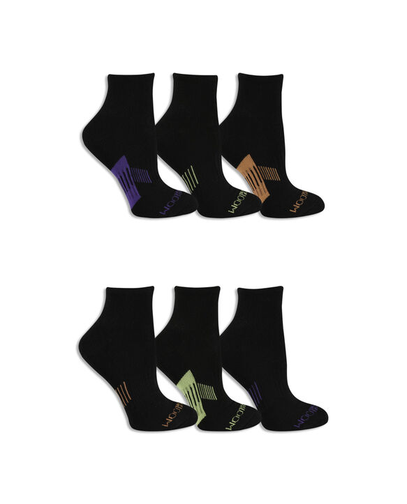 Women's Everyday Active Ankle Pair, 6 Pack BLACK/PURPLE, BLACK/YELLOW, BLACK/ORANGE