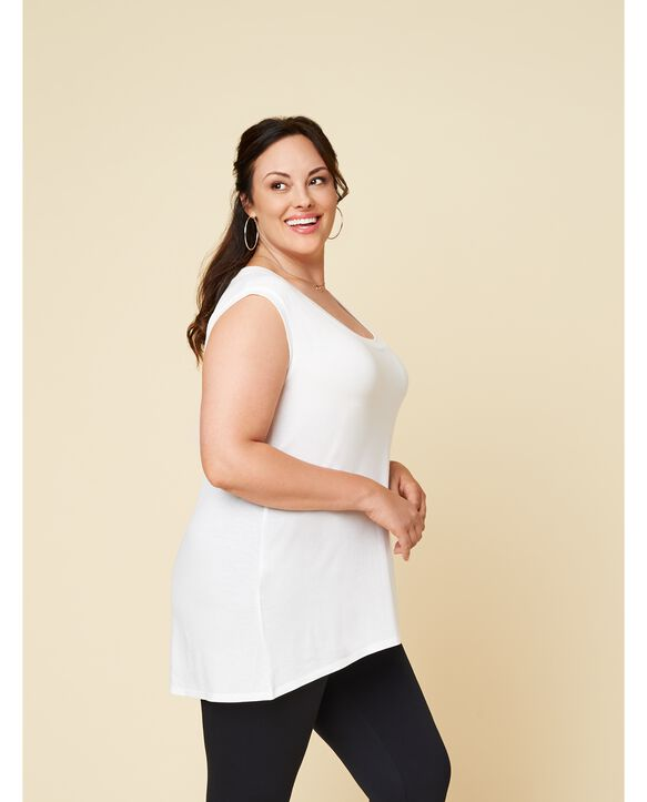 Women's Seek No Further Plus Size Scoop Neck Tank Top Pearl White