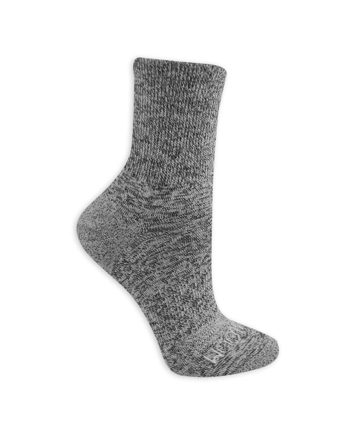 Women's On Her Feet Lightweight Boot Crew Socks, 3 Pack WHITE/GREY, WHITE, BLACK