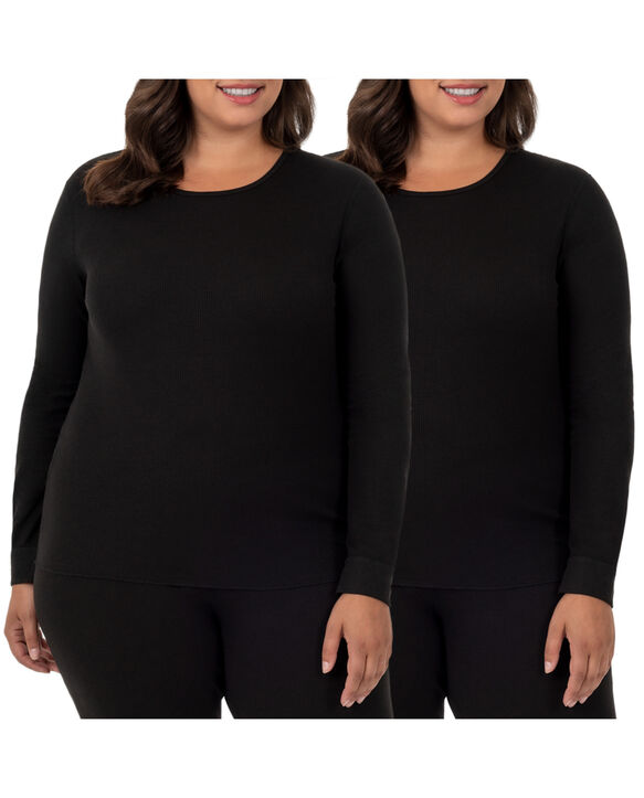 Women's Plus Size Thermal Crew Top, 2 Pack Black