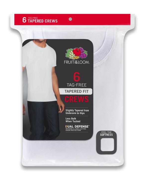 Men's Short Sleeve Tapered Crew T-Shirts, 6 Pack White