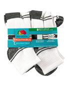 Men's Breathable Ankle Socks,  8 Pack, Size 6-12 WHITE/GREY
