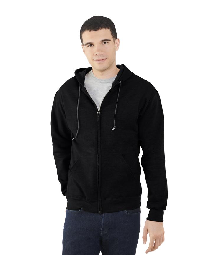 Men's EverSoft Fleece Full Zip Hoodie Jacket, 1 Pack Black