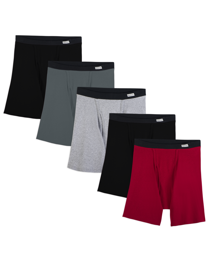 Men's 5 Pack Covered Waistband Boxer Brief