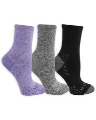 Women's On Her Feet Lightweight Boot Crew Socks, 3 Pack PURPLE, GREY, BLACK