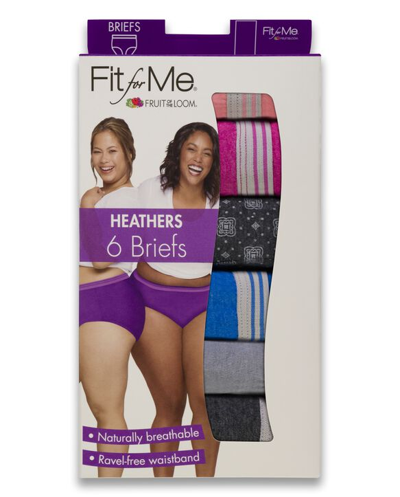 Women's Plus Size Fit for Me® by Fruit of the Loom® Heather Brief Panty, 6 Pack Assorted
