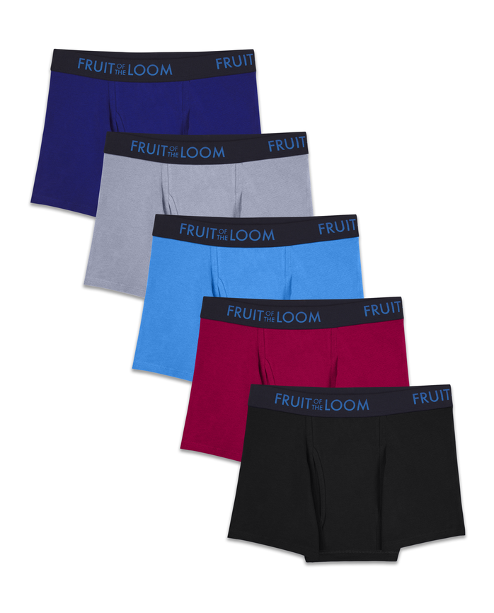 Men's Breathable Cotton Micro-Mesh Assorted Short Leg Boxer Briefs, 5 Pack