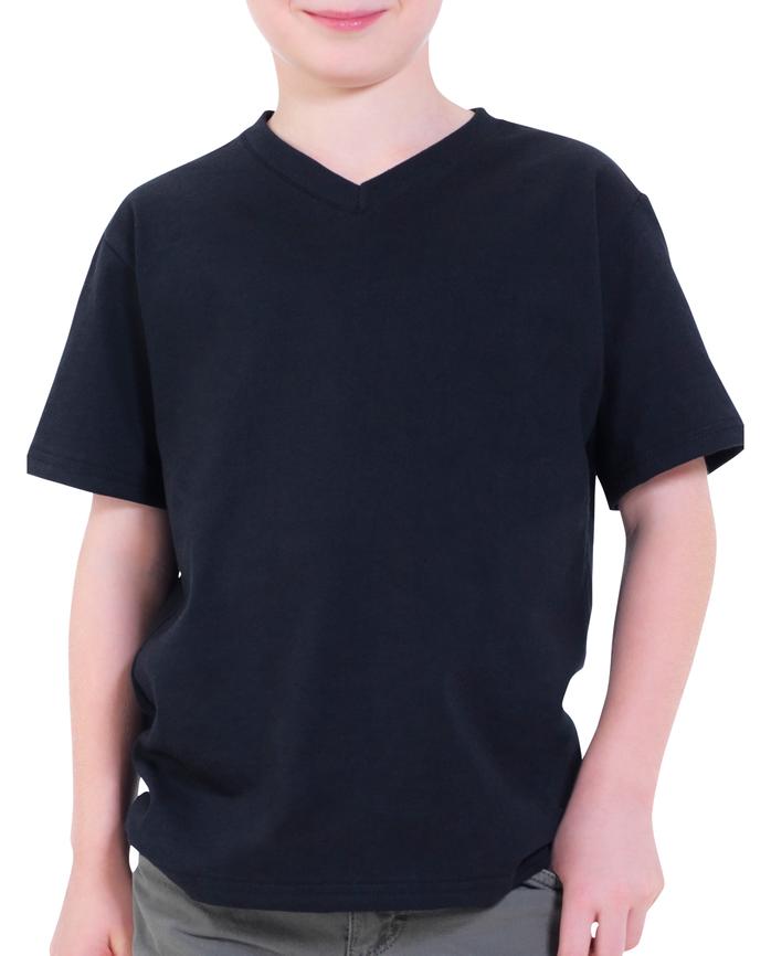 Boys' Short Sleeve V-Neck T-Shirt, 2 Pack Black