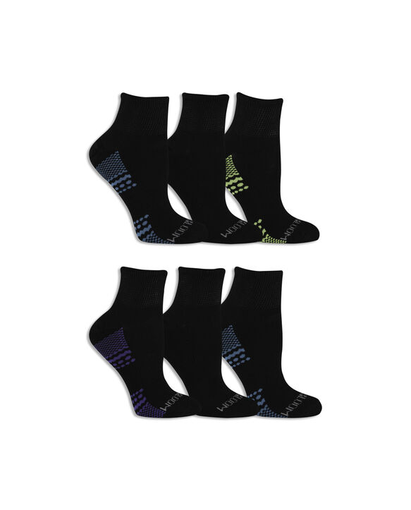 Women's Fit For Me® Everyday Active Ankle Pair, 6 Pack BLACK/YELLOW, BLACK/BLUE, BLACK/PURPLE