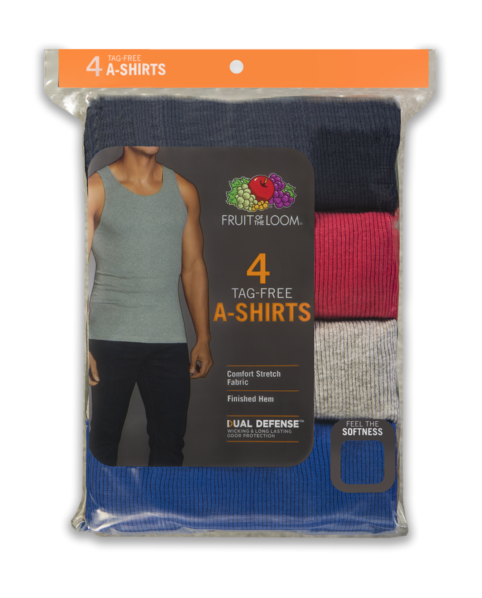 Men's Dual Defense® Assorted A-Shirts, 4 Pack, Extended Sizes