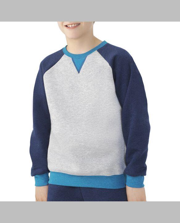 Boys' Fleece Raglan Crewneck Sweatshirt, 1 Pack Athletic Heather and True Blue