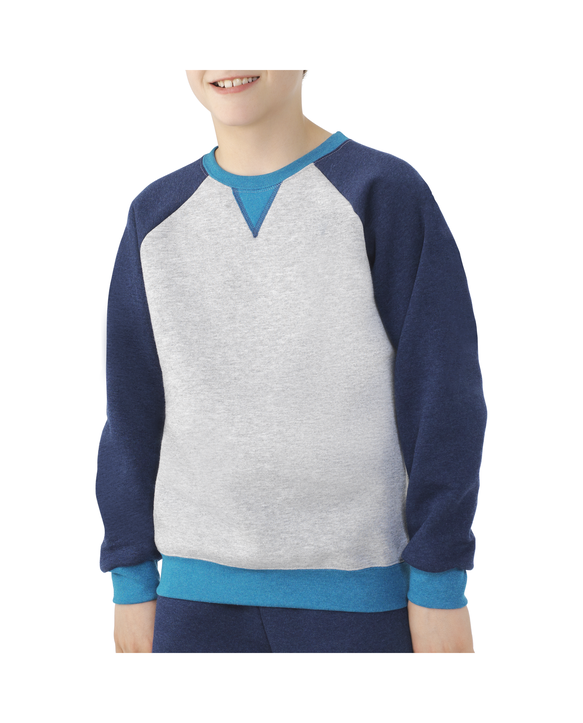 Boys' Fleece Raglan Crewneck Sweatshirt, 1 Pack Athletic Heather and True Blue