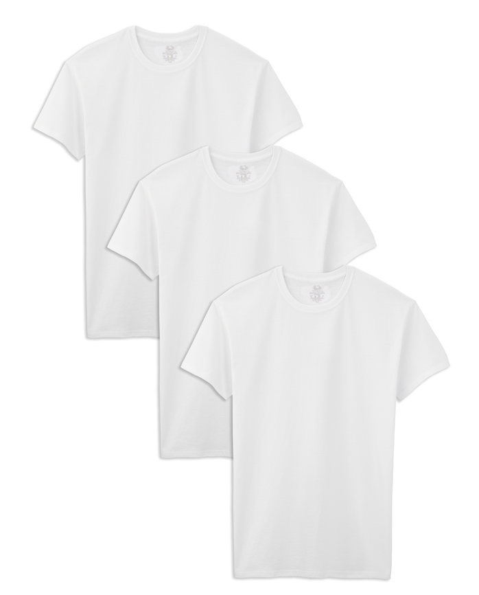 Men's Tall Man White Crew Neck T-Shirts, 3 Pack