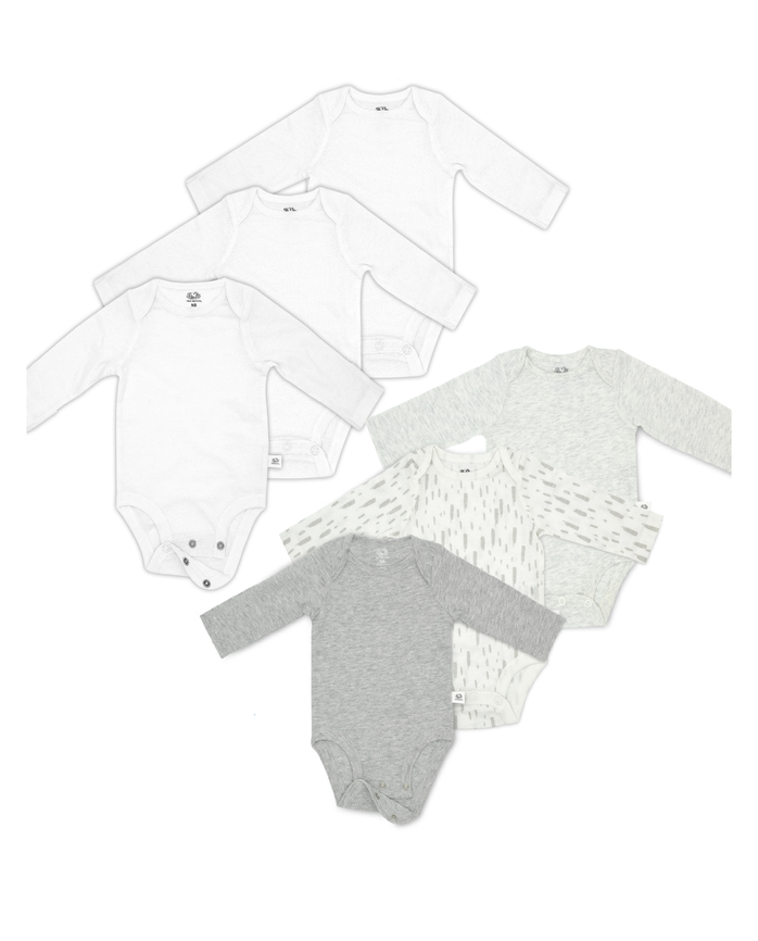 Baby Bodysuit Gift Set, Breathable Long Sleeve Bodysuits, 6 Pack