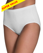 Women's White Cotton Brief Panty, 8 Pack