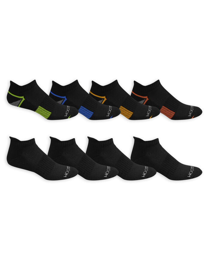 Men's Breathable Low Cut Socks Pair, 8 Pack BLACK/BLUE, JET BLACK, BLACK/ORANGE,JET BLACK, BLA