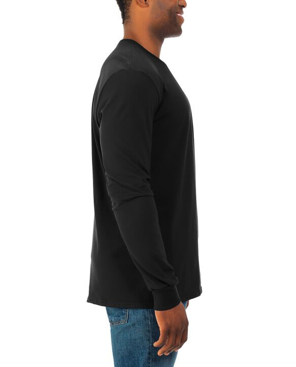 Soft Long Sleeve Crew Neck T-Shirt, 2 Pack Black