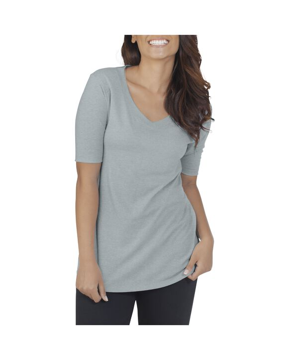 Women's Essentials Elbow Length V-Neck T-Shirt, 1 Pack Rock Heather