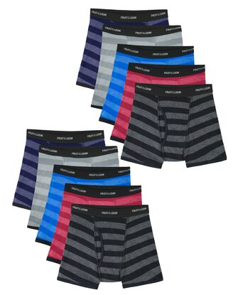 Boys' Striped Boxer Briefs, Mega Value 10 Pack