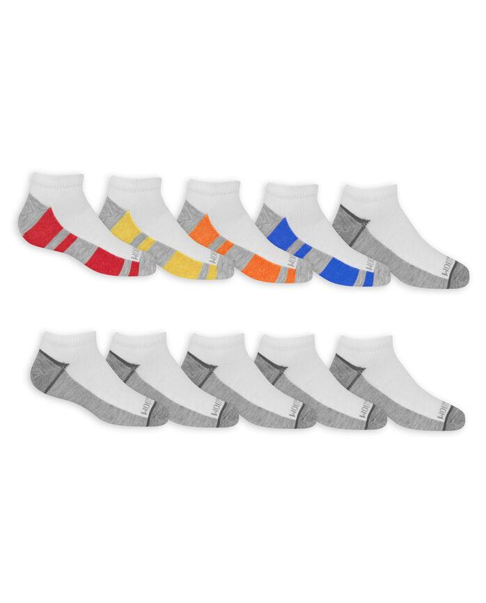 Boys' Lightweight No Show Socks, 10 Pack BRIGHT WHITE/LEMONCHELLO, BRITE WHITE/HIGH RISK RED, BRIGHT WHITE/VIBRANT ORANGE,BRIGHT WHITE/MED GREY HEATHER,BRIGHT WHITE/DIRECTOR BLUE, BRIGHT WHIT