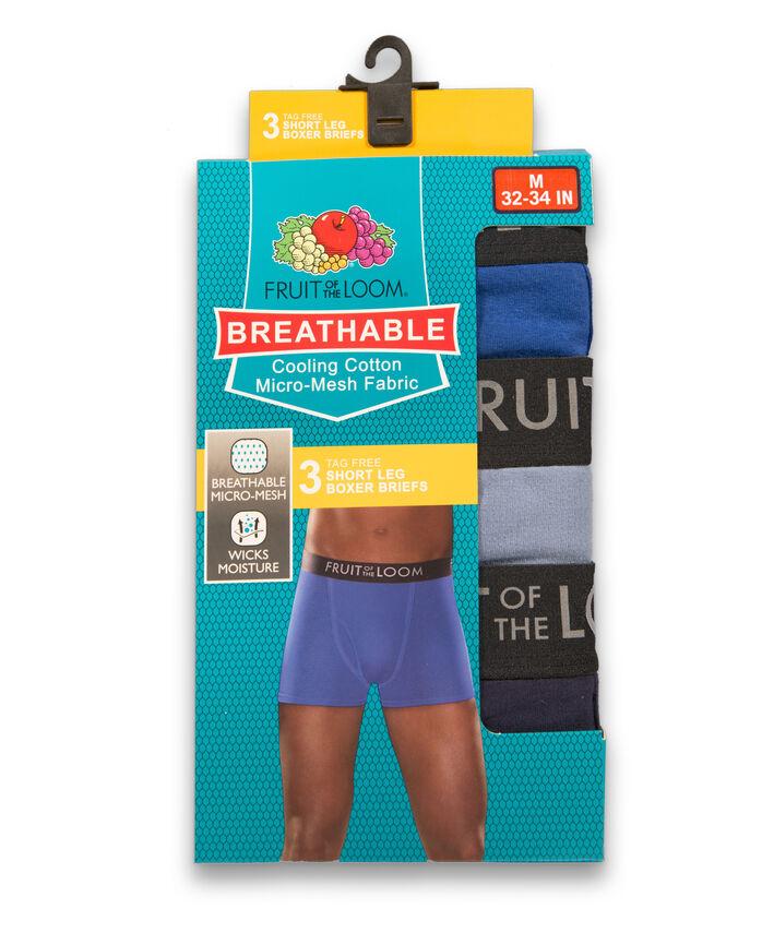 Men's Breathable Cotton Micro-Mesh Short Leg Boxer Brief, 3 Pack Assorted
