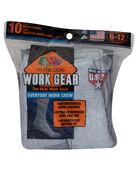 Men's Work Gear Crew Socks,  10 Pack, Size 6-12 SWEATSHIRT GREY/BLACK