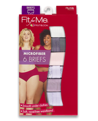Women's Plus Fit for Me Microfiber Brief Panty, 6 Pack ASSORTED