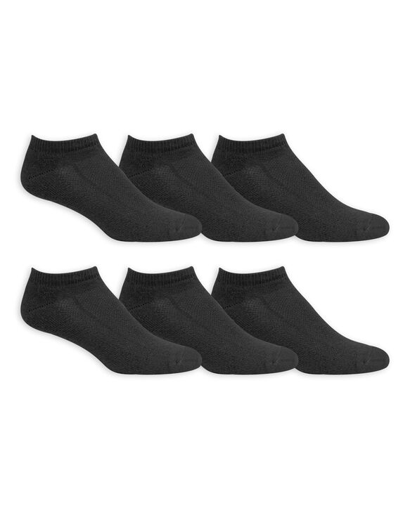 Men's Breathable Cotton No Show Socks, 6 Pack, Size 6-12 BLACK