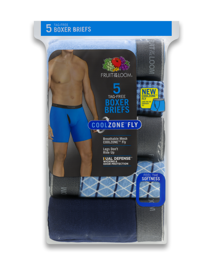 Men's COOLZONE Print/Solid Boxer Briefs, 5 Pack ASSORTED