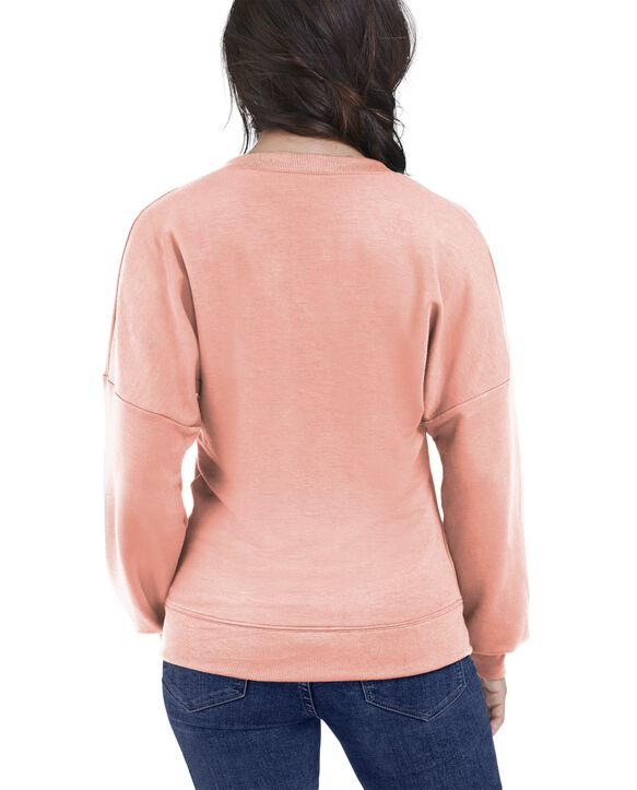 Women's Seek No Further Long Sleeve V-Neck Fleece Blouse Dream Coral