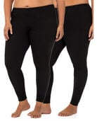 Women's Plus Size Thermal Bottom, 2 Pack BLACK/BLACK