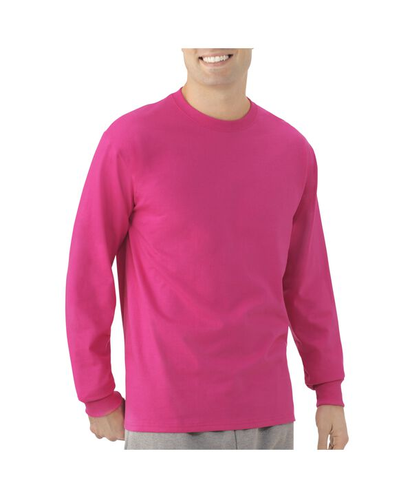 Men's EverSoft Long Sleeve T-Shirt, 1 Pack Very Berry
