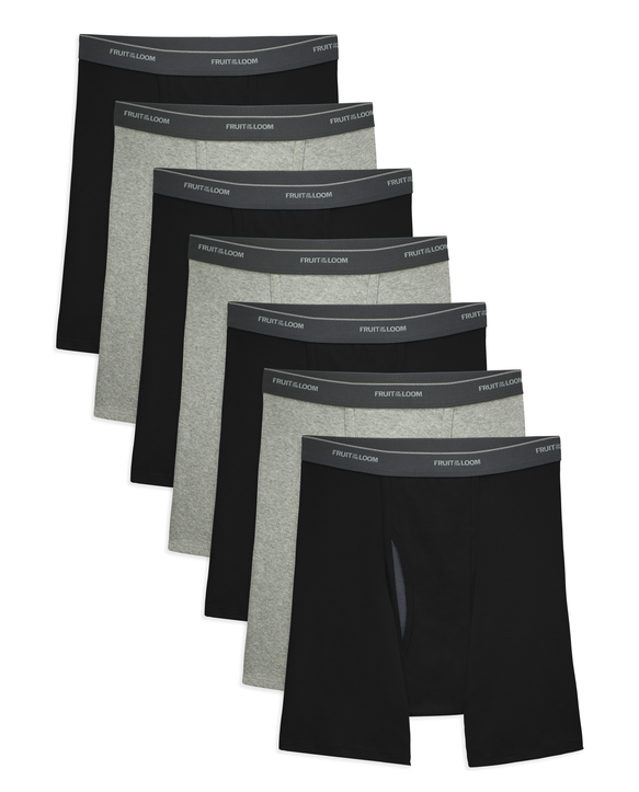 Men's CoolZone Fly Black and Gray Boxer Briefs, 7 Pack ASSORTED