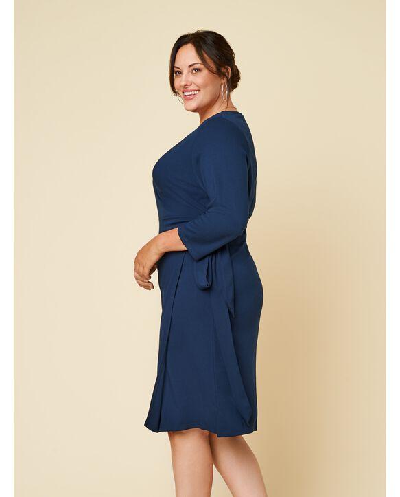 Women's Seek No Further Plus Size Ponte ¾ Sleeve V-Neck Wrap Dress Navy Nights